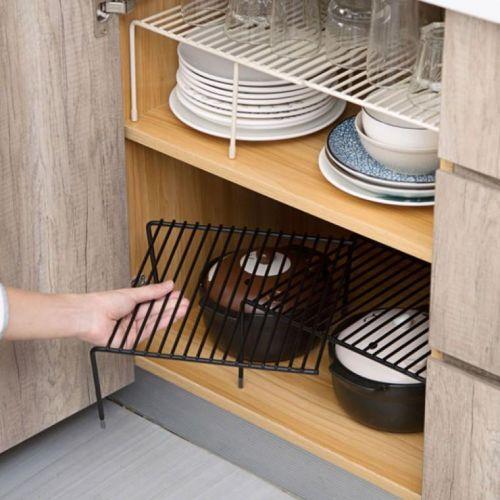 다용도선반 주방선반 그릇 접시정리대 길이조절 확장형, 블랙