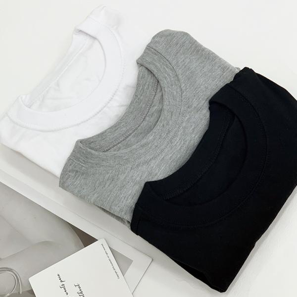 티데일리 남녀공용 20수 라운드 무지 반팔 티셔츠 3장 세트