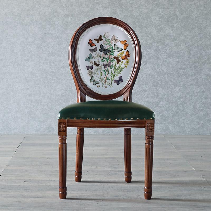 북유럽 복고풍 클래식 빈티지 나무 식탁 의자 동물 그림 등받이 엔틱 체어, BJ