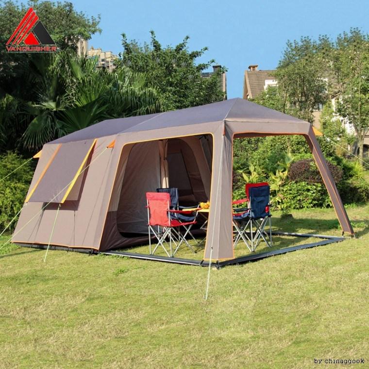 펭귄상회 야외 캠핑 텐트 자가 항풍 자외선 차단 6인용 대형 투룸, 브라운