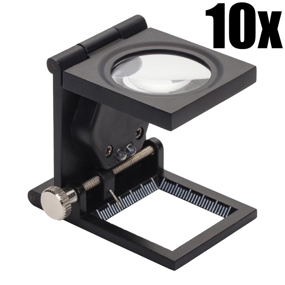 10X 루페 보석 섬유 검사 접이식 돋보기 확대경 LED 현미경 돋보기글라스, 1개