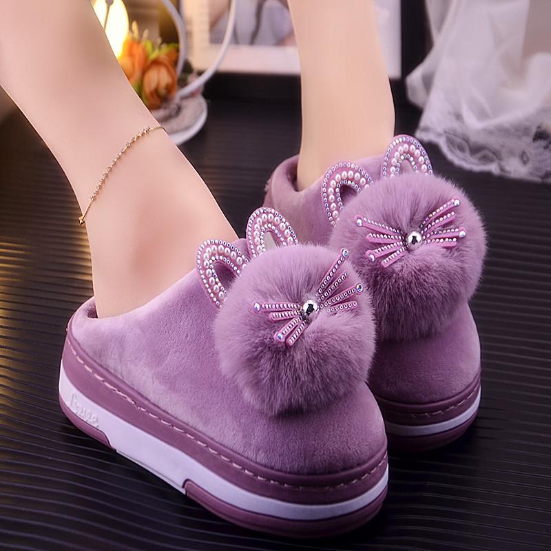 반짝 크리스탈 토끼모양 겨울철 신발 방한 실내화
