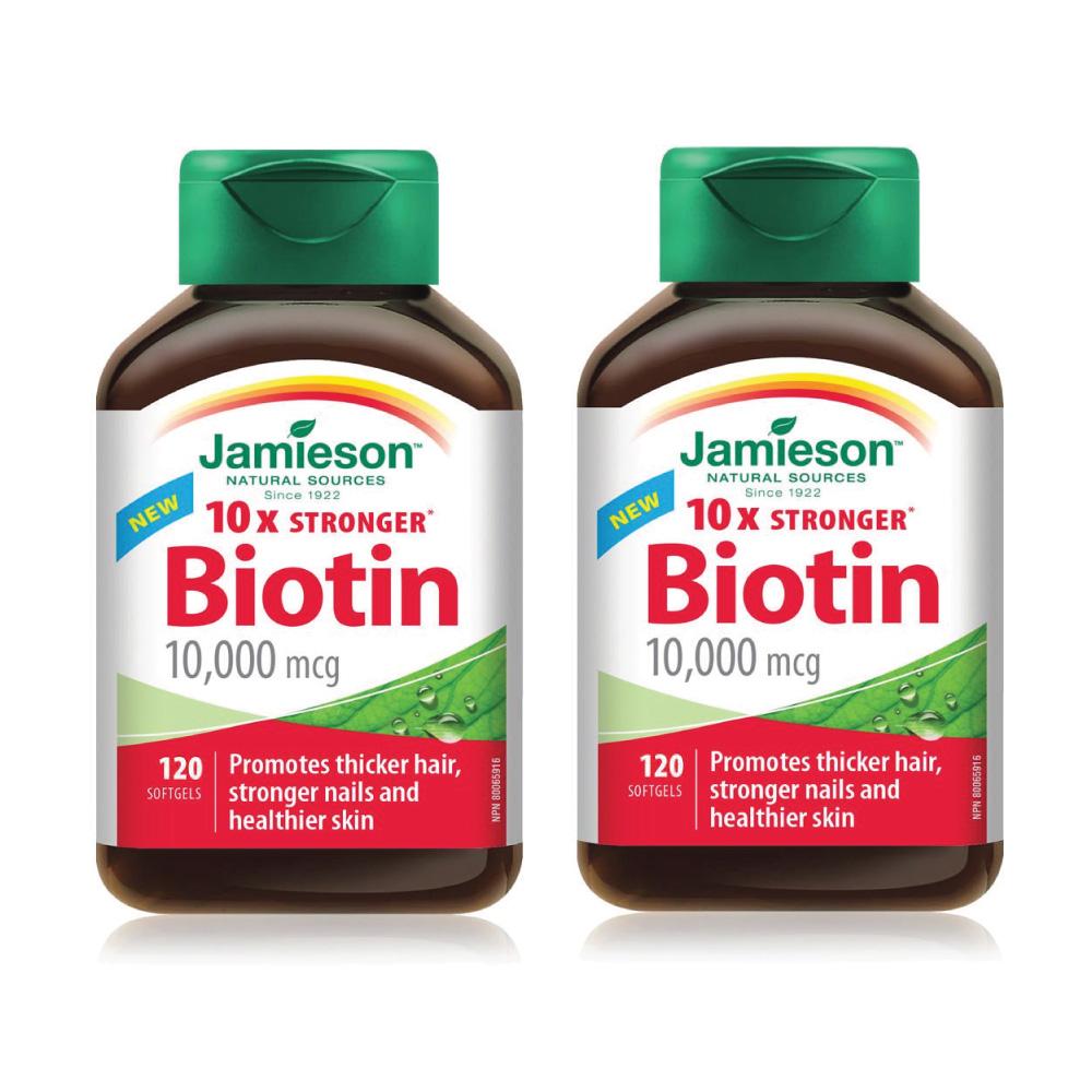 자미에슨 비오틴 Jamieson Biotin 10000mcg 120정, 164g, 2병