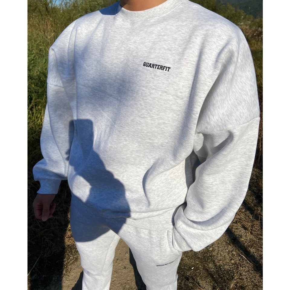 쿼터핏 KHO-03 자수 헤비웨이트 오버핏 맨투맨 티셔츠