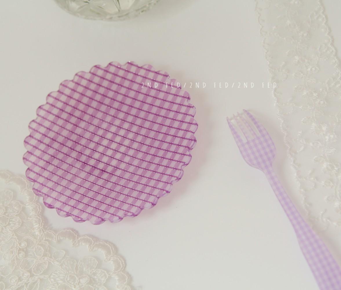 레트로 체크 플라워 플레이트 12종 빈티지 접시 감성 브런치 귀여운 꽃무늬 안깨지는 그릇, 스몰 플럼 퍼플