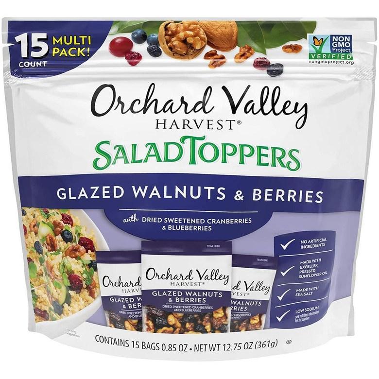 미국직구 Nuts Orchard Valley Harvest Salad Toppers 글레이즈드 호두 & 베리류 말린 가당 크랜베리 & 블루 베리 비 GMO 인공, 상세참조, 수량