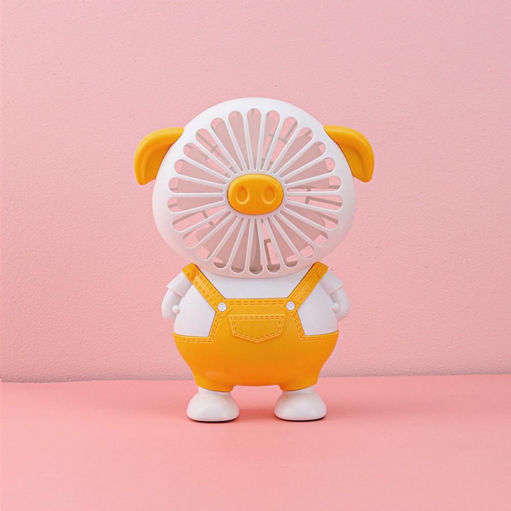 돼지 캐릭터 선풍기 휴대용 쿨링 팬 탁상 스탠드 직장인 미니 귀여운 손풍기 캠핑 차박, 옐로 (POP 5227180236)