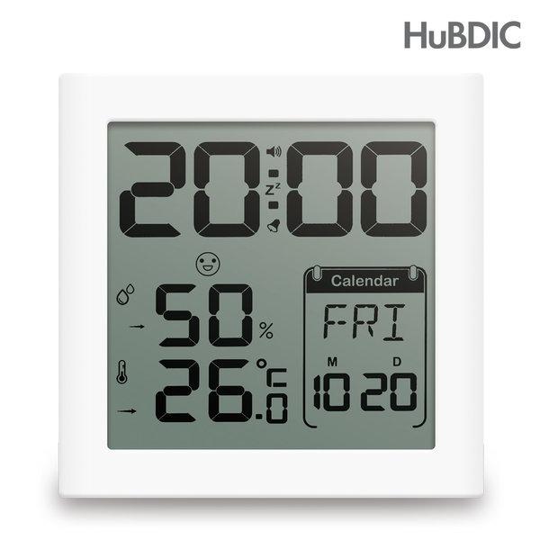 휴비딕 디지털 시계 온습도계 HT-5 화이트 욕실 주방 쾌적도표시, 1개