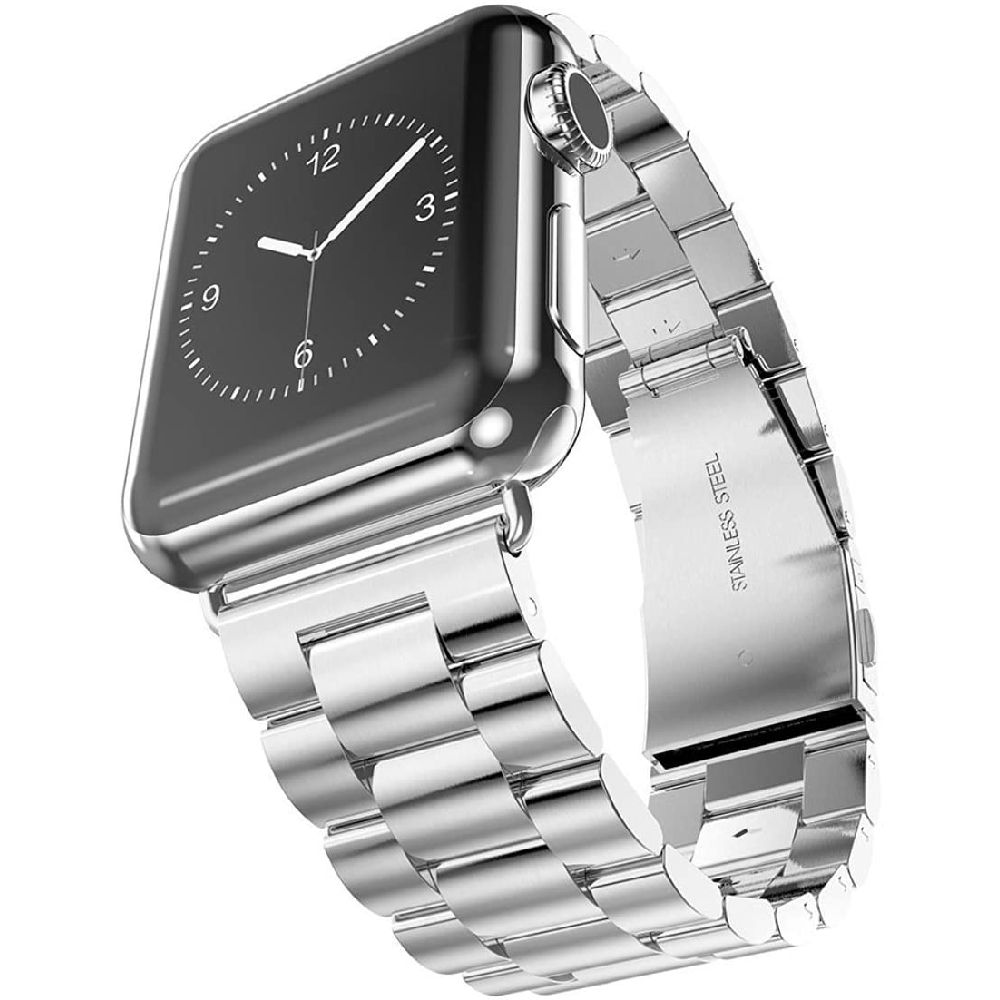 Arrfa 애플 시계 시리즈 5 4 3 2 1 42mm 44mm 스테인레스 스틸 금속 링크 팔찌 스트랩 비즈니스 교체 은색