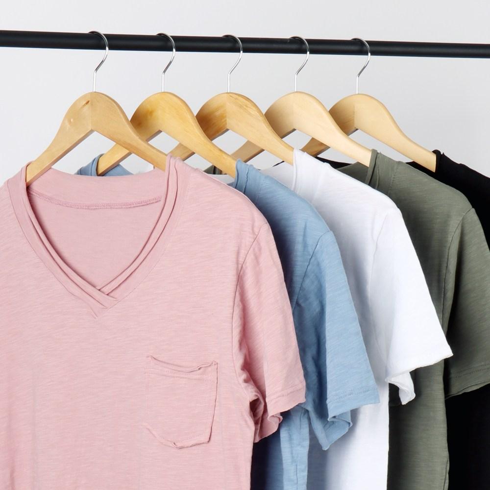 벤힛 워싱 면 슬라브 브이넥 반팔 티셔츠
