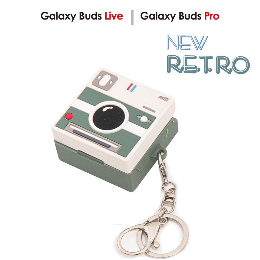 삼성전자 레트로 게임기 폴라로이드 카메라 갤럭시 버즈 프로 라이브 호환 버즈/버즈 플러스 입체 실리콘 케이스 빈티지 스타일 3D몰드, 버즈 프로/라이브-폴라로이드_파인그린