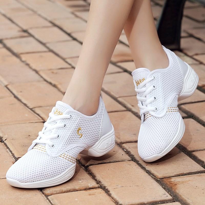 여자댄스화 2020여름타입 광장무 신발댄스 댄스신발 사계절 싱글망 면통기성 소프트한바닥 여성용 현대무용 신발~