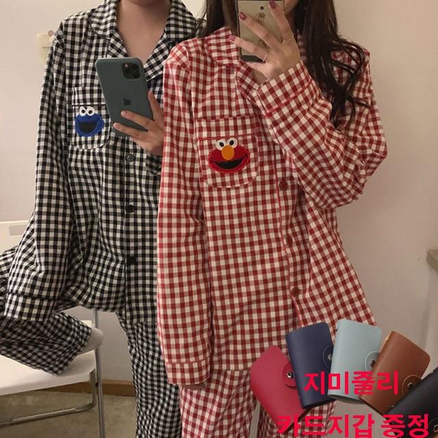 지미줄리 엘모 케릭터 커플파자마 커플잠옷 커플잠옷 체크잠옷세트