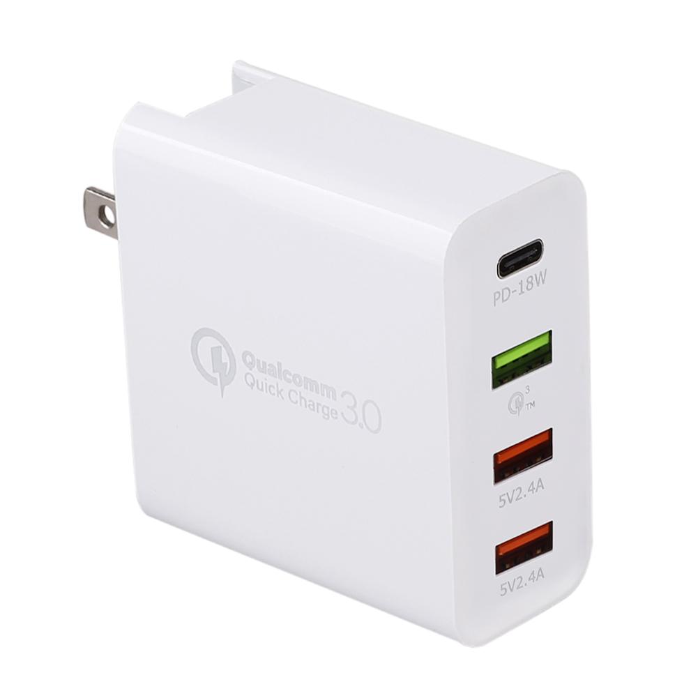 4 포트 스마트 usb 벽 충전 48 w 빠른 충전기 3.0 usb 어댑터 유형 c pd 아이폰에 대 한 빠른 충전기 삼성 xiaomi 화 웨이, 1개, 우리에게