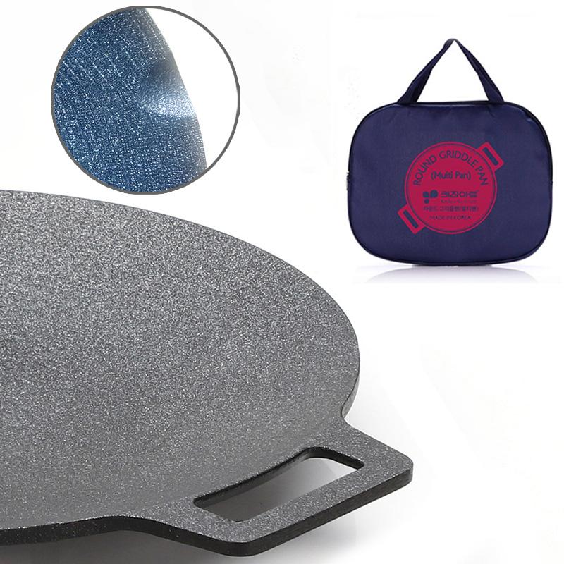 키친아트 라운드 멀티그릴팬+전용가방 33cm 구이 볶음 캠핑 고기불판