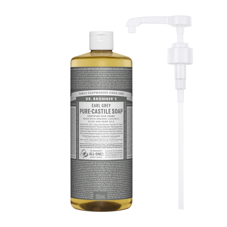 닥터브로너스 퓨어 캐스틸 솝 얼그레이 950ml + 전용펌프, 단품