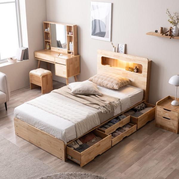 [삼익가구]러버 LED 4단 수납 원목 침대(YS 파워 본넬스프링 매트리스-슈퍼싱글), 내추럴