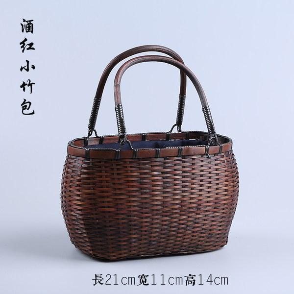 피크닉바구니 팬트리수납 여행 소풍 외출용 손가방, 와인 레드 대나무 가방