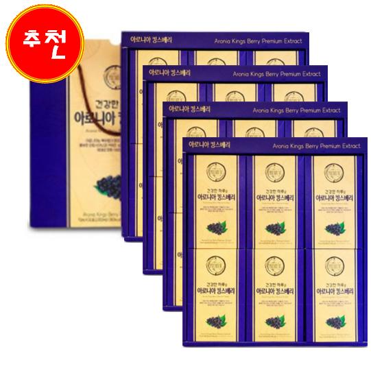 호호몰 청다원 흑삼진액골드 흑마늘 석류 아로니아 30포세트 선물세트, 4set, 아로니아 킹스베리30포