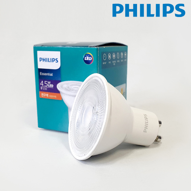 필립스 LED램프 4.5W GU10 할로겐50W대체용전구 LED SPOT 스팟전구 빔각도36도, 1개, 주광색