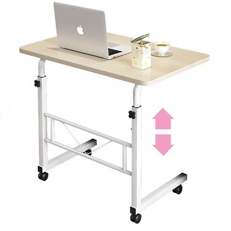 높이조절 책상 각도조절 원룸 길이조절 사이드 노트북 테이블, 브라운 (중)