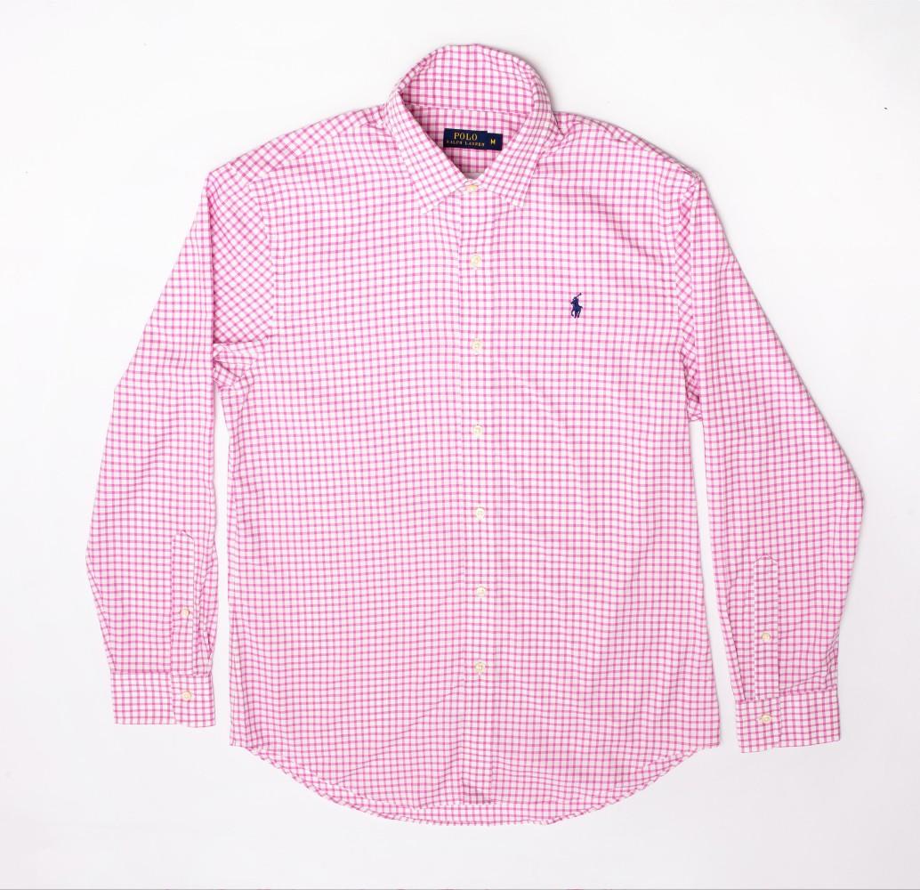 폴로 코튼 박스 셔츠 Urban 캐주얼 핑크 체크 무늬 셔츠