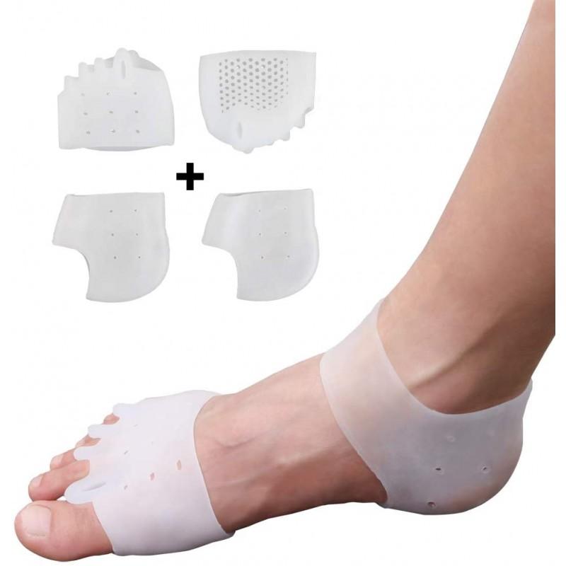 실리콘 발가락 분리기 및 발 뒤꿈치 보호기 세트-핀키 해머 발가락 교정기 및 발바닥 근막염 치료 젤-붕, 1