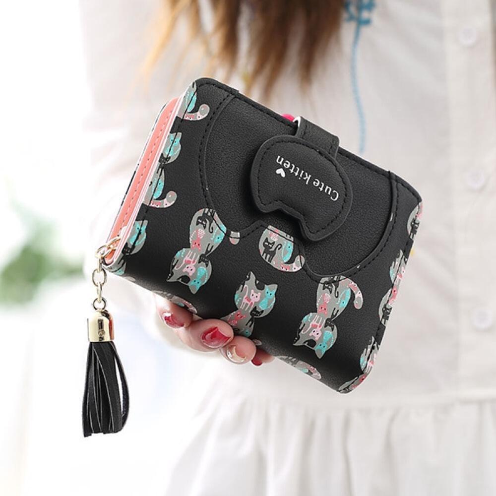 SHULI 새 지갑 여학생 한국 판 짧 은 귀 요 미 고양이 제로 2020 미니 카드 sl 캡 - 검은색