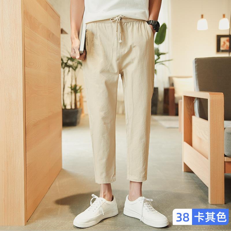 남자린넨바지 Nanjiren반바지 남성여름옷 얇은타입 유행 코튼린넨 캐주얼 긴바지 루즈핏 일자핏 야마 운동 9부바지 A