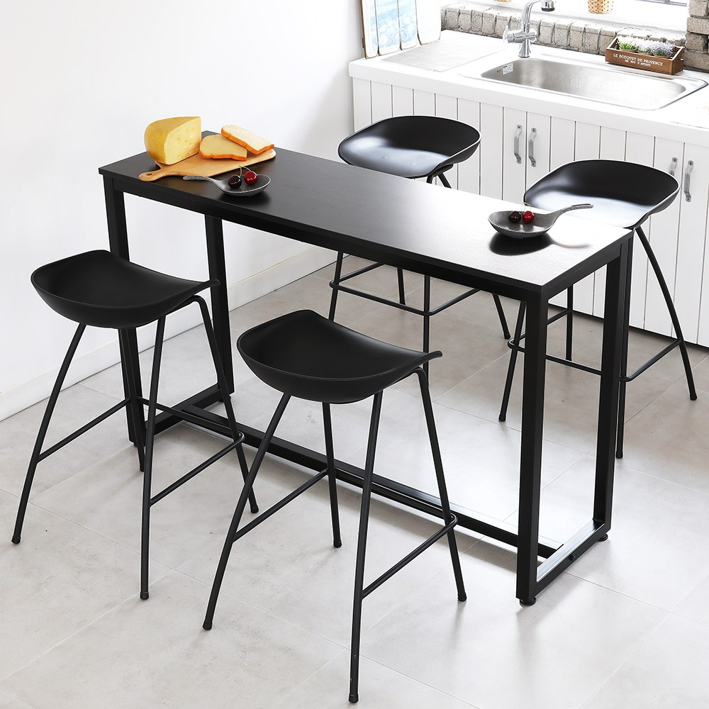 THEJOA [더조아] 홈바테이블 높은테이블 카페 인테리어 아일랜드식탁 홈바테이블 콘솔, 1500 블랙