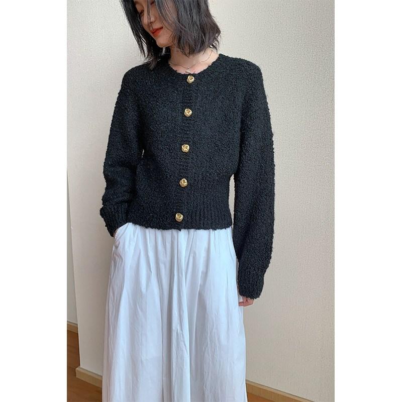 COS 스타일핏 니트가디건블랙 여성 20 가을 신품 와이드 숏 빈티지스웨터디자인 쁘띠 코트