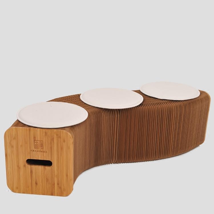 접이식 크라프트지 아코디언 의자+방석 3개 포함, 02 화이트/라탄 방석