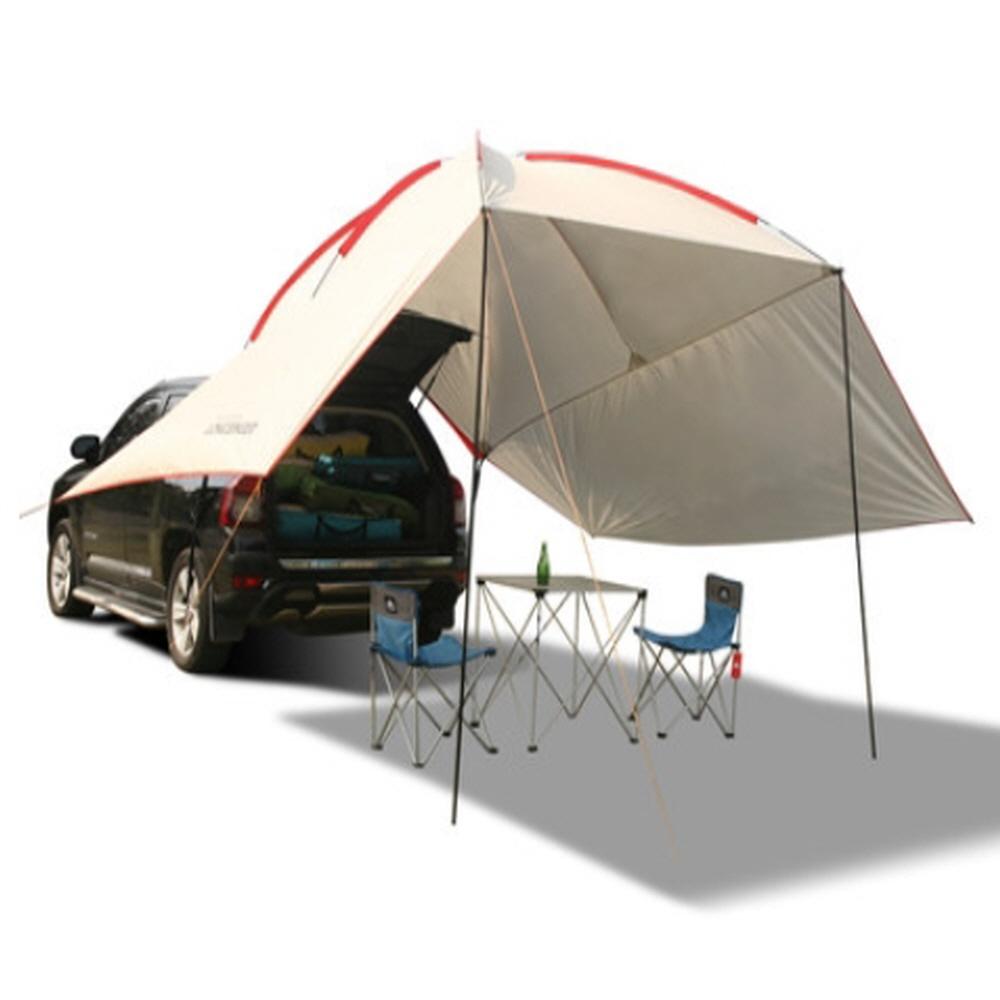 차박 용품 SUV 도킹 텐트 렉타 헥사 타프 쉘 사이드월 꼬리텐트 쉘터, 라이트그레이