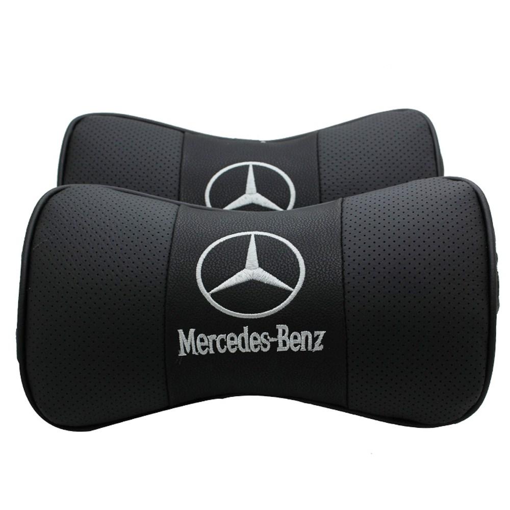 오토데코 벤츠(BENZ) 차량용 목쿠션 기능성 목베개 가죽쿠션, 벤츠 가죽목쿠션:블랙(1개)