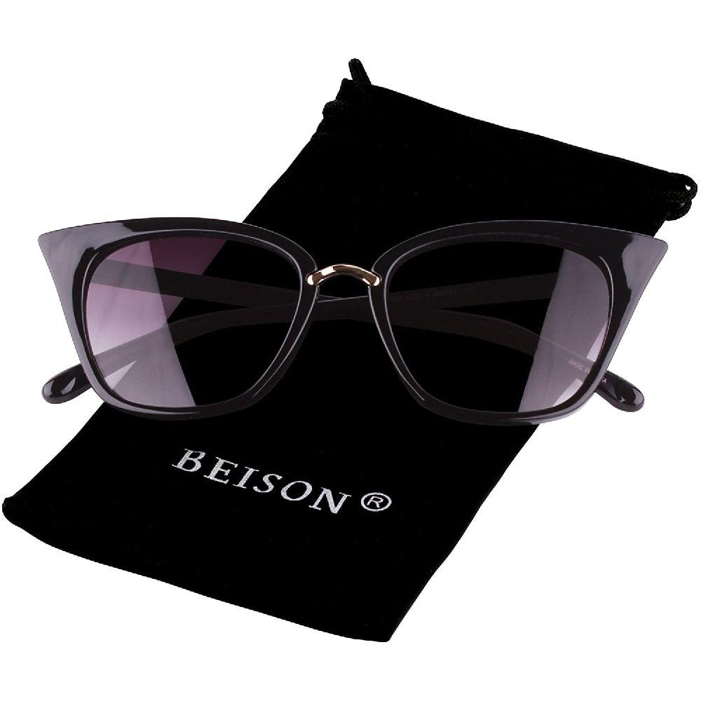 Beison 여자 고양이 눈 모 패션 선글라스 안경