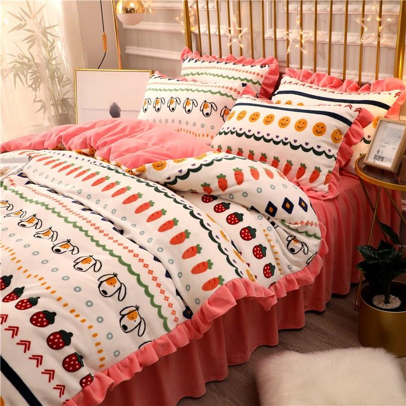 105360 침대 스커트 산호 벨벳 4 조각 겨울 양털 이불 커버 플란넬 3 조각 우유 벨벳 두껍게 4