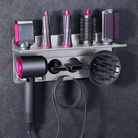 Floatant 2in1 Dyson Supersonic Hair Dryer 용 벽걸이 형 스탠드 헤어 드라이어 홀더 Dyson Airwrap Sty, Silver Tray With Slots_One Si, Silver Tray With Slots_One Si, Silver Tray With Slots