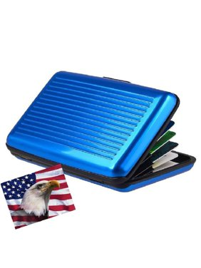 엘릿.알루미늄 지갑 작은 파란색 저항성 카드 보호기 및 RFID 블록 카드 홀더 및 6개의 포켓.슬림하고 휴대성이 뛰어나 여행이 용이합니다.
