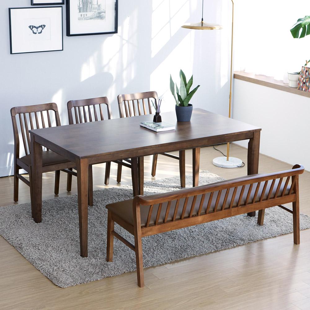 루디 체코 원목 식탁 세트 4인용 6인용 벤치형 의자형 방문설치, 4인벤치형