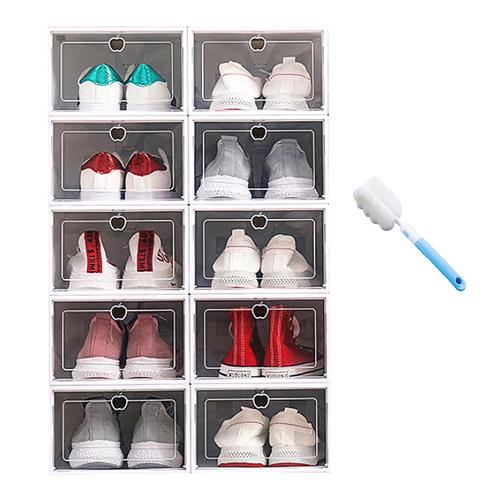 리빙톡 조립식 플라스틱 투명 신발정리함 10개 1세트 화이트 신발정리대, 10개입