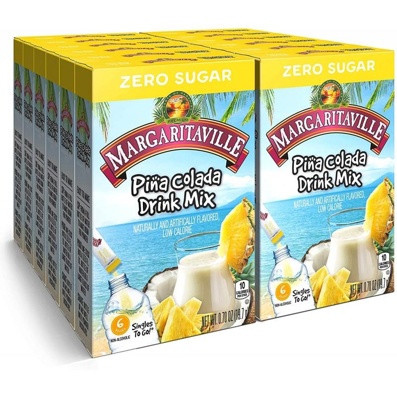 Margaritabille 싱글 투 고 워터 음료 믹스 - Pina Colada 향료 비알코올성 파우더 스틱(각 6팩 포함 12박스 - 총 72인분) 0, 1