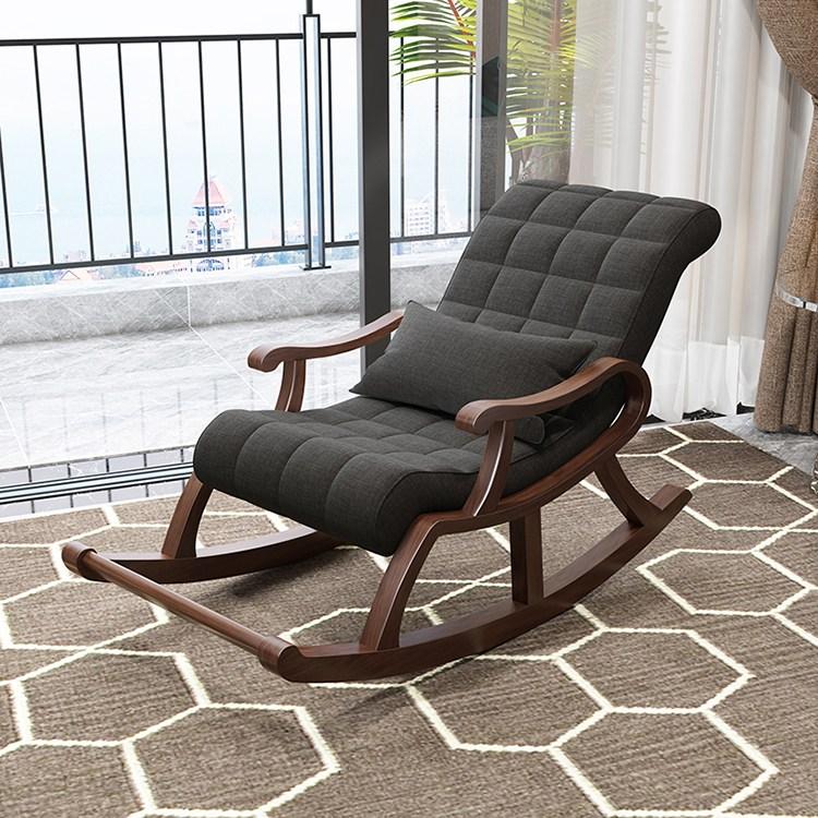 원목 인테리어 흔들의자 안락의자, 탈부착 및 빨 수있는 진회색