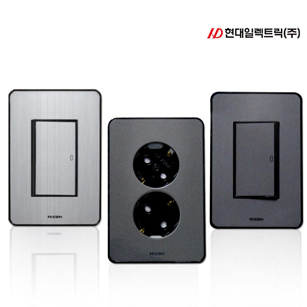 현대일렉트릭 타로시 현대 하이콘 스위치 콘센트 전화 TV 복합, 다크그레이_콘센트 8P 모듈라 1구 (8P)(하이콘)