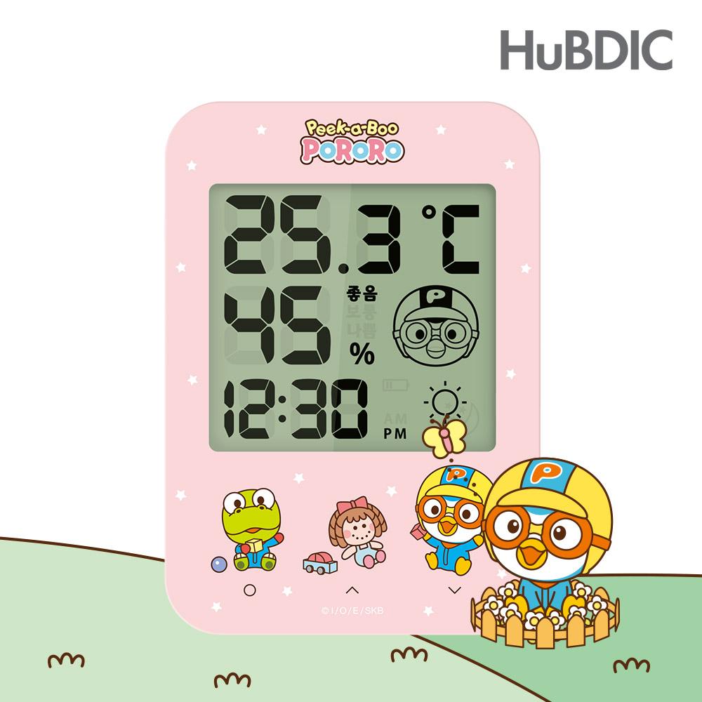 [휴비딕]뽀로로 디지털 시계 온습도계 HT-2 핑크, 1)온습도계 HT-2 핑크
