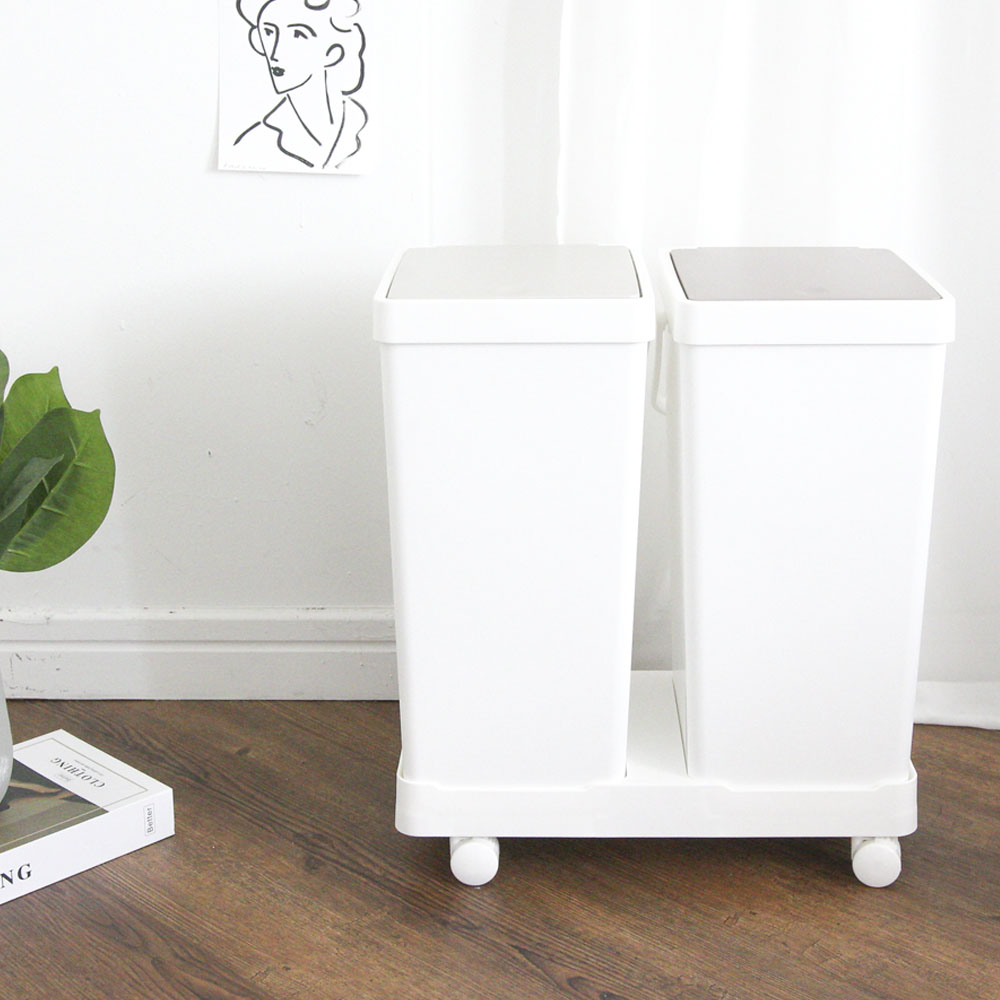 마켓드봉 원룸 재활용 대형 쓰레기 통 원터치 이동식 가정용 분리수거함, 2단