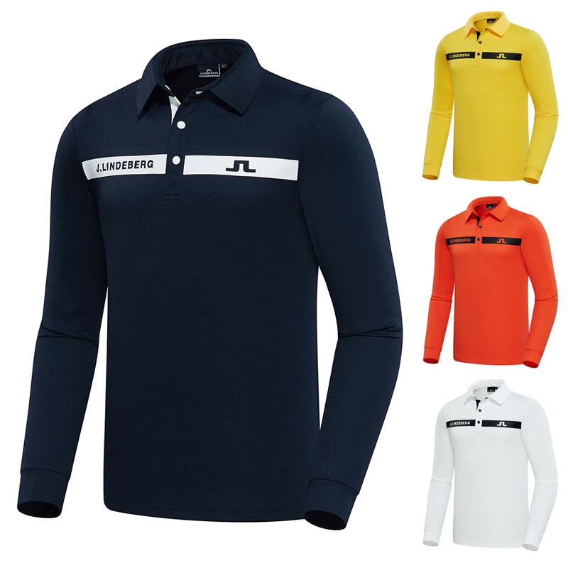 Zarnaga J.LINDEBERG 제이린드버그 남자 골프 가을 겨울 긴팔 긴소매 폴로 티셔츠 JL828-1529, S, 화이트