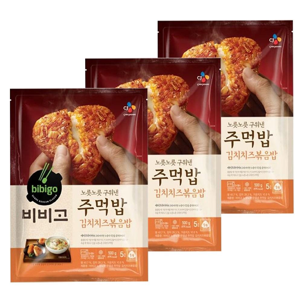 (냉동)비비고 구워낸주먹밥김치치즈500gx3개, 1세트