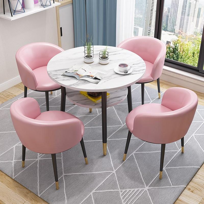원형 식탁 홈바 테이블 휴게실 탕비실 카페 거실 티 테이블 의자 세트, 핑크 2 핑크 가죽으로 마블링
