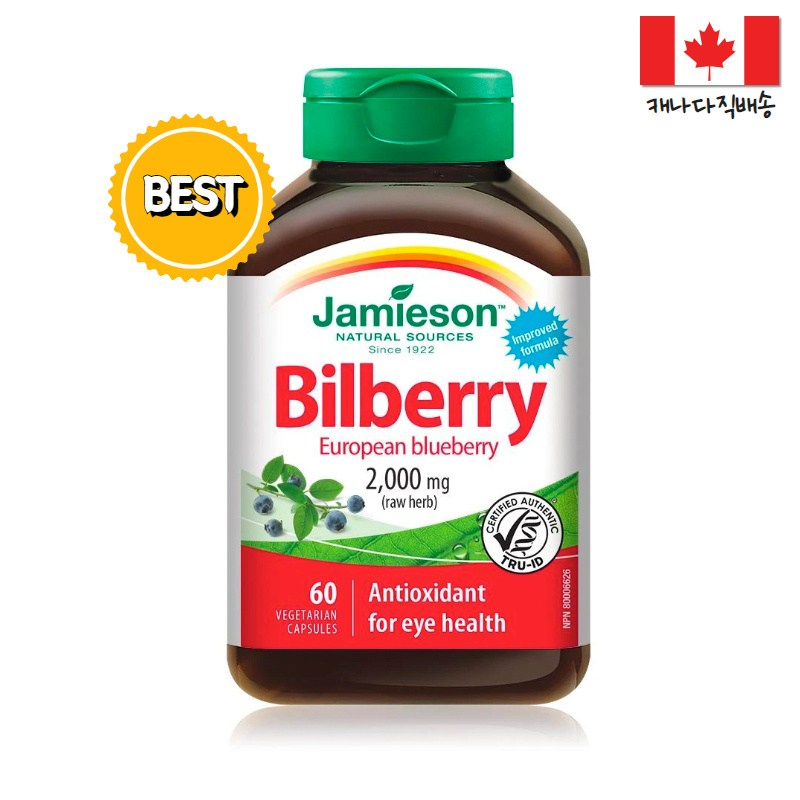 Jamieson 자미에슨 80배 고농축 빌베리 2000mg 60정 2개월분 눈건강 눈건조 현대인필수 캐나다영양제 유러피안블루베리, 1병