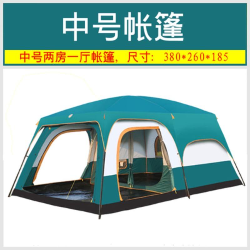 거실형텐트 타프쉘 리빙쉘 타프스크린 투룸텐트 방두개 야외 3-4 명 캠핑 두 방 하나 홀 두껍게 방수 더블 레이어 5-6-8-10 멀티 플레이어 캠핑 텐트, 중간 (녹색)